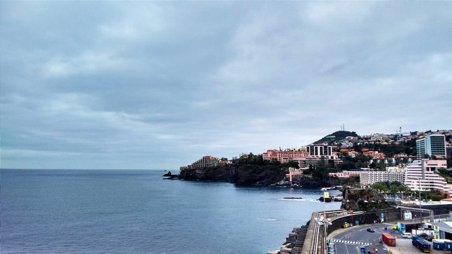 Coastline landscape and city in Funchal, Portugal