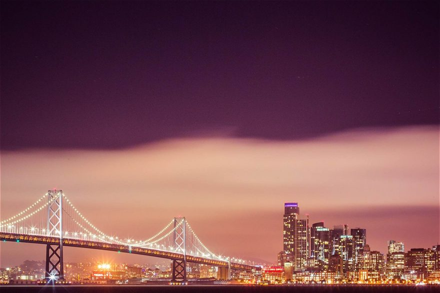 Bay Bridge with San Francisco Skyscrapers Cityscape at Night