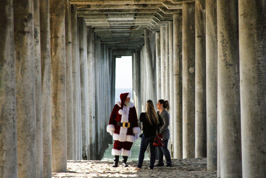 People meeting Santa Claus in the Corridor