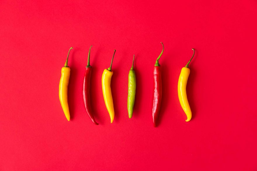 Red, Yellow and Green Hot Chilli Peppers