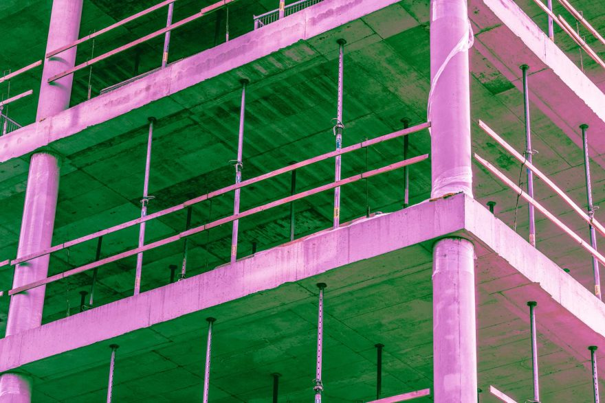 Construction Site Building Abstract Psychedelic Colors
