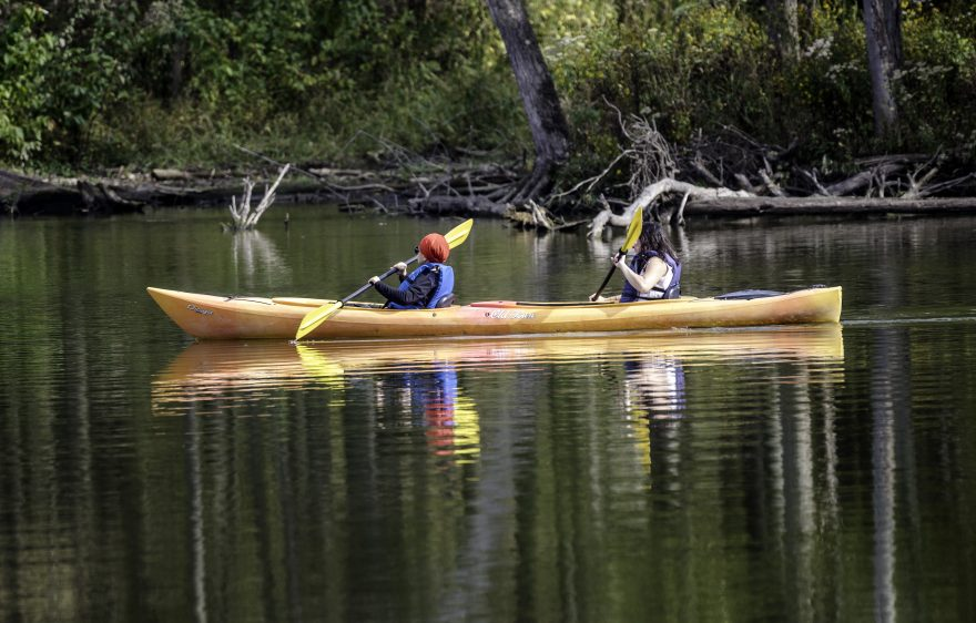 Two people rowing a yellow canoe