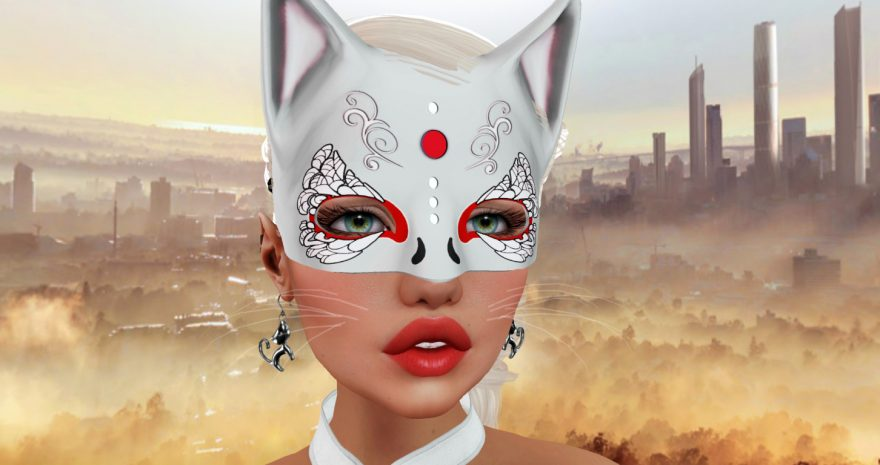 Woman in a cat mask