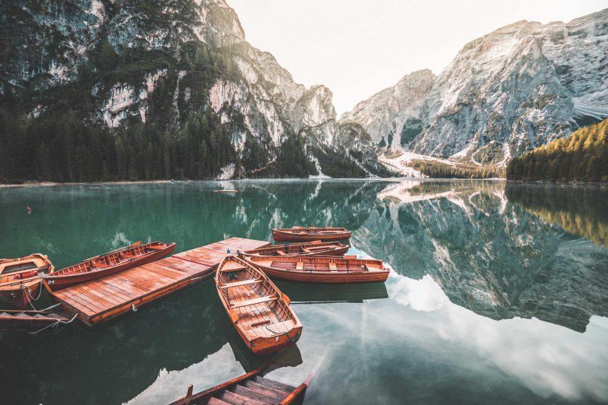 Old Wooden Rowing Boats on Lago di Braies (Pragser Wildsee)