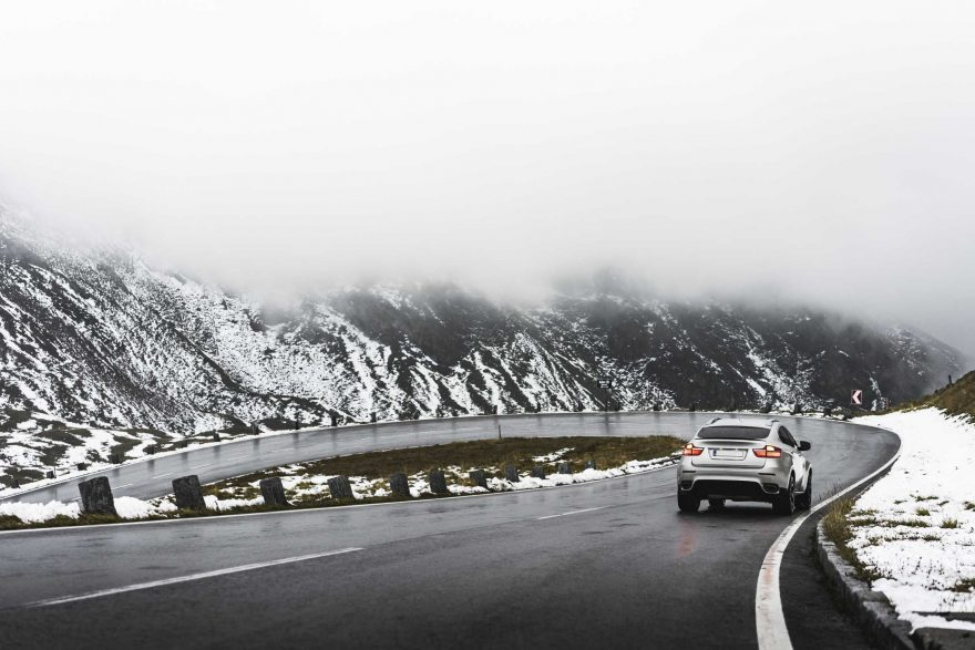 Driving on Grossglockner Mountain Road in Winter Weather