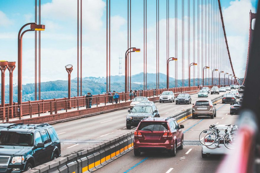 Traffic: a Lot of Cars Driving Across The Golden Gate Bridge