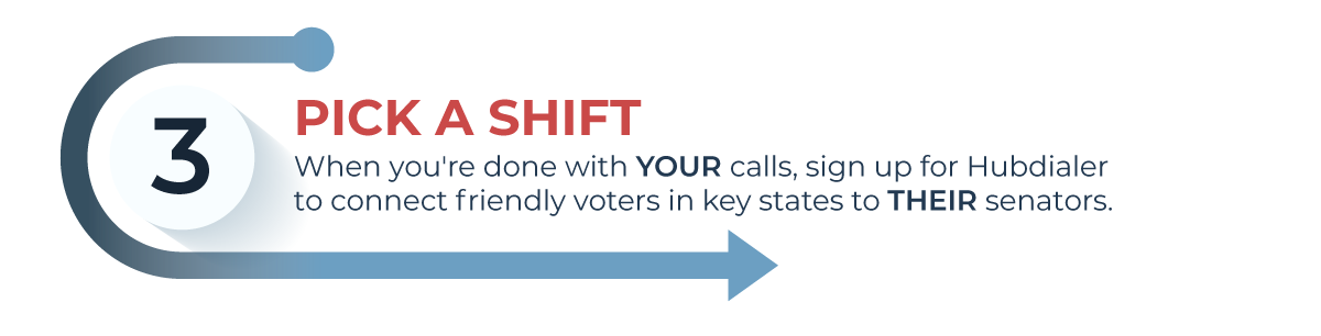 alt: stop 3 - pick a hubdialer shift to call friendly voters in key states
