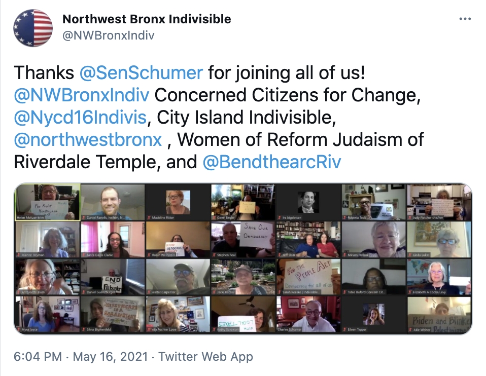 A screenshot of a tweet with a photo of many Indivisible activists meeting with Senator Schumer