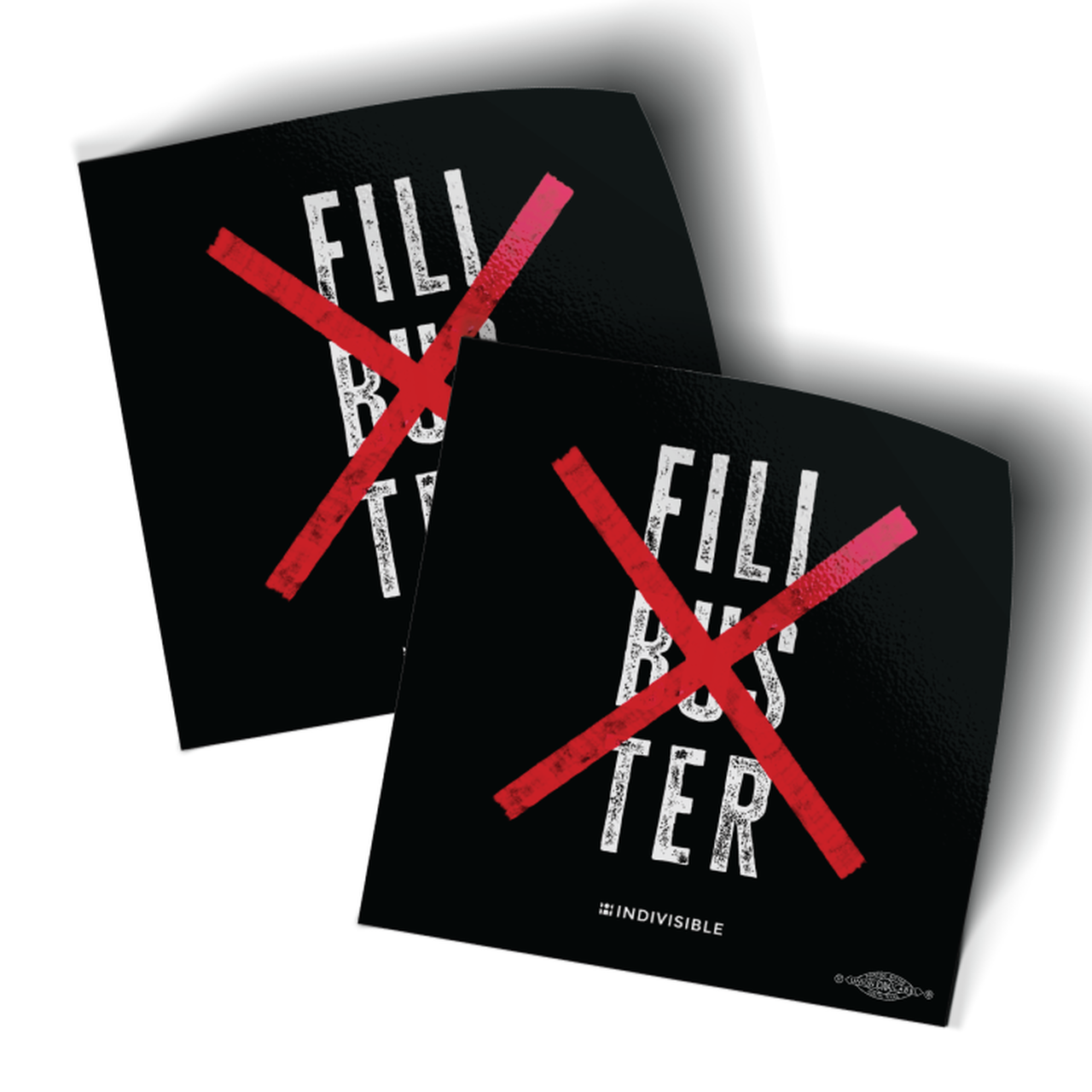 Pair of No Filibuster stickers with r x's