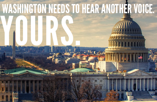Washington needs to hear another voice. Yours.