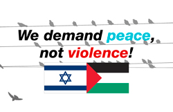 We demand peace, not violence.