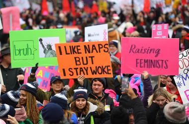 Jan 19, 2019; Washington, DC, USA; Marchers during the 2019 Women's March on Jan. 19, 2019 in Washington. The 2017 Women's March was organized to protest the first full day of President Donald Trump's term in office and at hundreds of other events in all