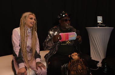 Zhavia Ward and George Clinton attend the Westwood One Radio Roundtables during the 61st Annual GRAMMY Awards at Lexus Lounge on February 08, 2019 in Los Angeles, California