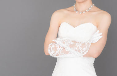 Bride, Wedding Dress, Arms Crossed, Gray Background