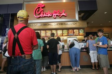 People Waiting in line at Chick-Fil-A