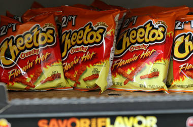 Bags of Flamin' Hot Cheetos`