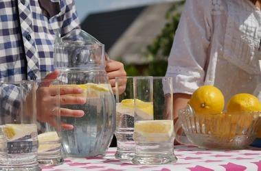 Kids, Lemonade Stand, Water, Lemons, Glasses, Outdoors, Table