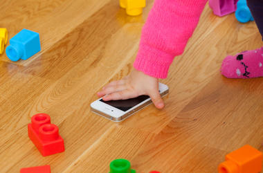 Girl, Toddler, Blocks, Cell Phone