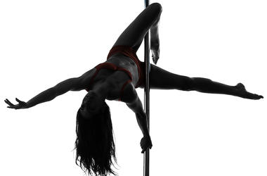 Woman, Pole Dancing, Silhouette
