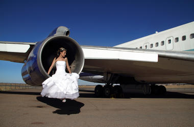 Bride, Wedding Dress, Airplane, Turbine Engine