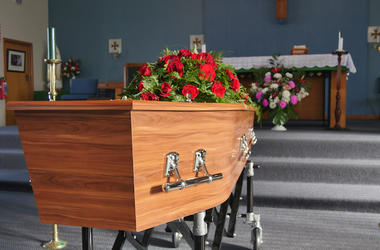 Casket, Church, Chapel, Funeral, Flowers
