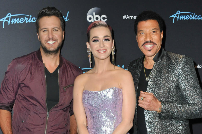 Judges Luke Bryan, Katy Perry and Lionel Richie arrive at ABC's 'American Idol' show on April 23, 2018