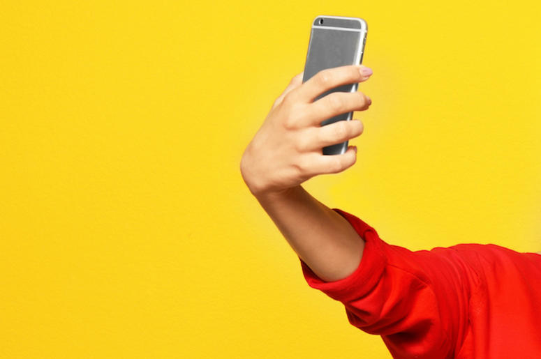 Selfie, Woman, Yellow Background
