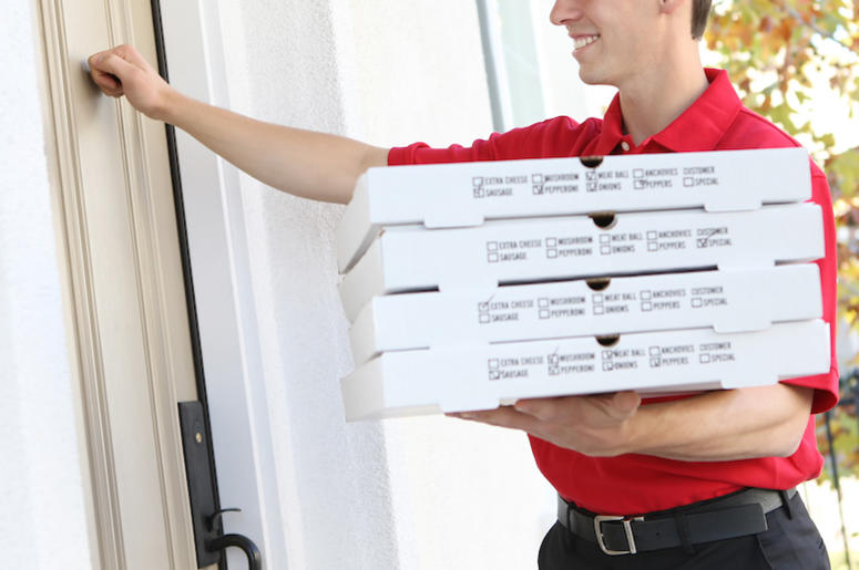 Pizza Delivery, Boxes, Front Door, Knocking