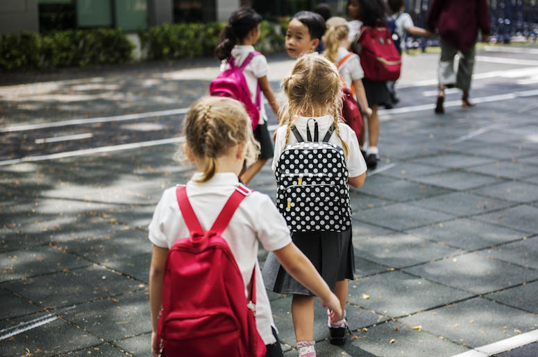 Kindergarten, Class, Walking, Uniforms, Backpacks