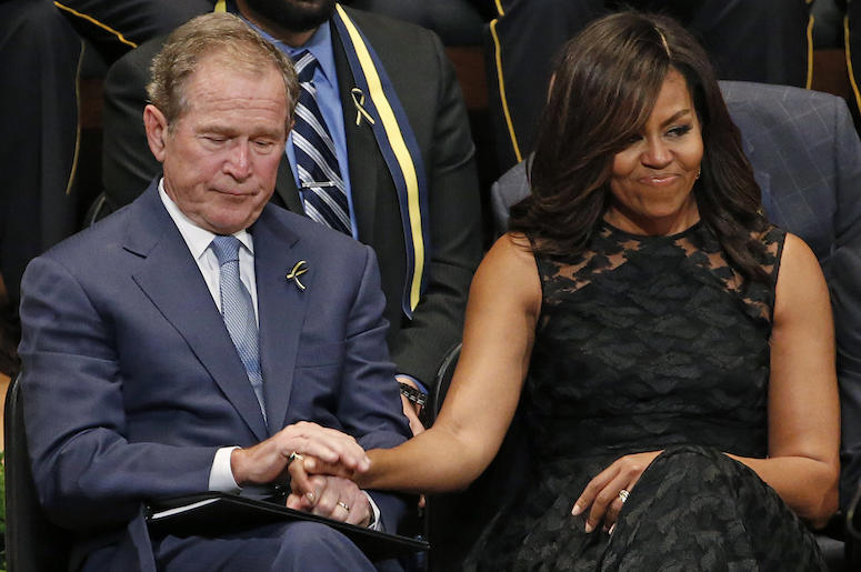 Michelle Obama, George W Bush, Holding Hands, Dallas, Meyerson Symphony Center, Memorial, 2016