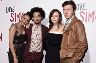 "LOS ANGELES, CA - MARCH 13: Alexandra Shipp, Jorge Lendeborg Jr., Katherine Langford and Nick Robinson at the special screening of 20th Century Fox's ""Love, Simon"" at Westfield Century City on March 13, 2018 in Los Angeles, California"
