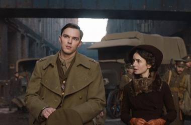 "Nicholas Hoult and Lily Collins in a scene from ""Tolkien"""