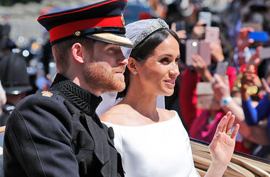 Britain's Prince Harry and his bride Meghan Markle