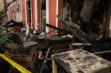 Restaurant, Burned, Looted, Patio, Furniture