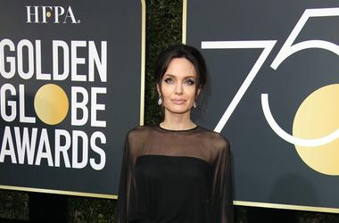 Jan 7, 2018; Beverly Hills, CA, USA; Angelina Jolie arrives for the 75th Golden Globe Awards at the Beverly Hilton.