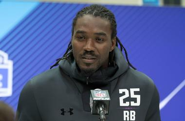 Former Alabama Crimson Tide running back (now with The Dallas Cowboys) Bo Scarbrough at the March 1, 2018 NFL Combine at the Indianapolis Convention Center