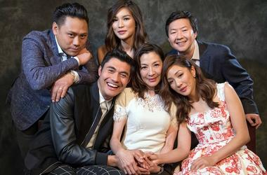 "Aug 5, 2018; Beverly Hills, CA, USA; Portrait of the director and cast of ""Crazy Rich Asians.\"" (From left to right) Director Jon M Chu, Henry Golding, Gemma Chan, Michelle Yeoh, Constance Wu and Ken Jeong. The film is an adaptation of the best selling b"
