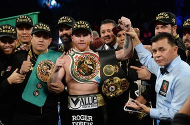 Sep 15, 2018; Las Vegas, NV, USA; Canelo Alvarez celebrates after defeating Gennady Golovkin in their middleweight world championship boxing match at T-Mobile Arena. Alvarez won via majority decision