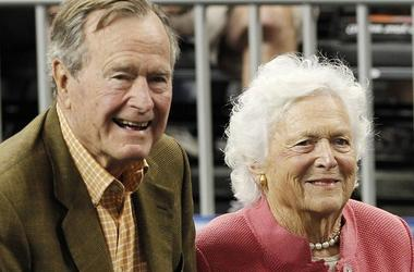 Former President George H W Bush and wife, Barbara