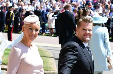 5/19/2018 - James Corden and Julia Carey leave St George's Chapel at Windsor Castle after the wedding of Meghan Markle and Prince Harry.