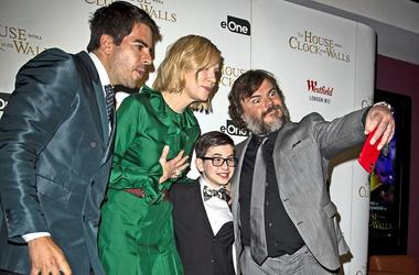 9/5/2018 - (left to right) Eli Roth, Cate Blanchett, Owen Vaccaro and Jack Black during the world premiere of The House with a Clock in Its Walls at Westfield in White City, London.