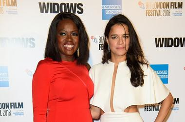 10/10/2018 - Viola Davis (left) and Michelle Rodriguez arriving for the 62nd BFI London Film Festival Opening Night Gala screening of Widows held at Odeon Leicester Square, London