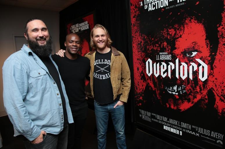 Director Julius Avery, Jovan Adepo and Wyatt Russell attend the Los Angeles Special Screening of Overlord at the AMC Burbank IMAX Theater in Burbank, CA on Wednesday, November 7, 2018