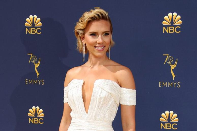 Sep 17, 2018; Los Angeles, CA, USA; Scarlett Johansson arrives for the 70th Emmy Awards at the Microsoft Theater.
