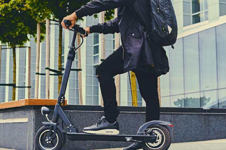 Electric Scooter, Downtown, Pose, Man