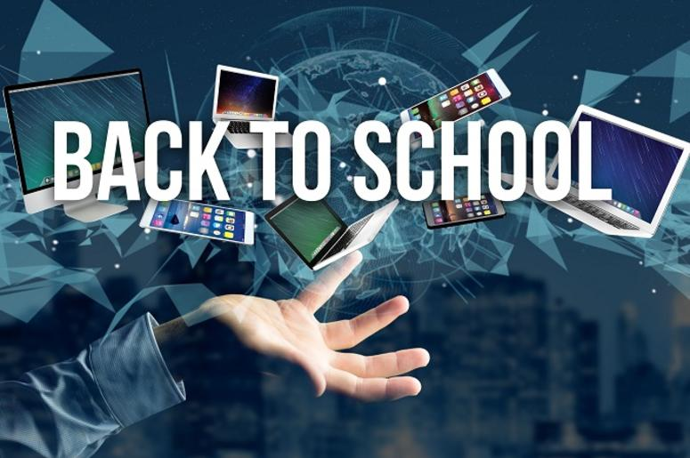 Back to school title surounded by device like smartphone, tablet
