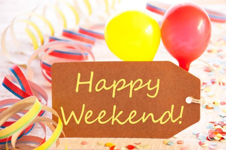 Party Label, Streamer And Balloon, Yellow Text Happy Weekend.