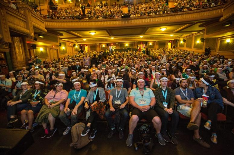 "03.17.18 - audience wearing headbands at the closing night screening of Fox Searchlight Pictures ""Isle Of Dogs"" at the 2018 SXSW Festival at Paramount Theatre - Austin TX"