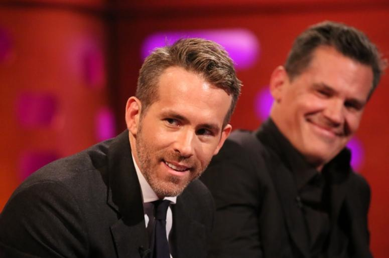 5/10/2018 - Ryan Reynolds (left) and Josh Brolin during filming for the Graham Norton Show at BBC Studioworks in London, to be aired on BBC One on Friday.