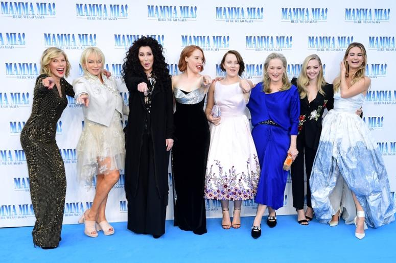 7/16/2018 - Christine Baranski, Judy Craymer, Cher, Jessica Keenan Wynn, Alexa Davies, Meryl Streep, Amanda Seyfried and Lily James attending the premiere of Mamma Mia! Here We Go Again held at the Eventim Hammersmith Apollo, London.